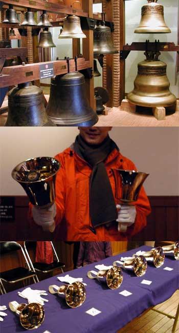 古今東西の鐘が展示、そしてハンドベルを演奏