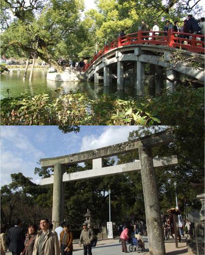 鳥居と太鼓橋