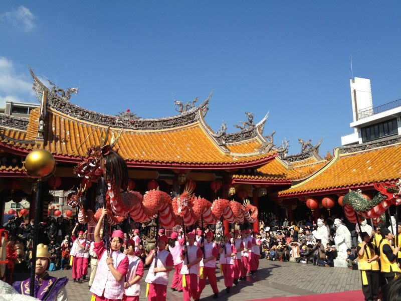 孔子廟での龍踊